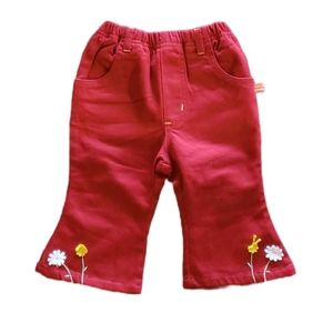 Snow, Size Small (1), Red Pants with Pretty Stitching and Floral Appliques